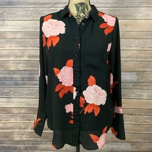 Women's Long Sleeve V-Neck Button-Up Blouse
